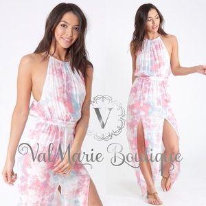 Pastel Tie Dye Maxi Beach Dress